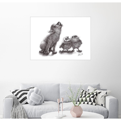 Posterlounge Wandbild, heulender Wolf trifft heulende Eulen 90 cm x 70 cm