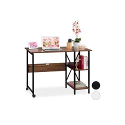 relaxdays Schreibtisch Schreibtisch klappbar mit Ablagen braun