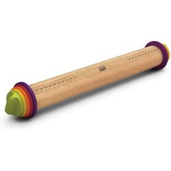 JosephJoseph Nudelholz Verstellbare Teigrolle mit 9 Einheiten pastellfarben Holz bunt