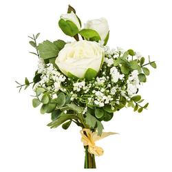 Kunstblume Rosenstrauß gebunden Rosen Blumenstrauß 45 cm 1 Stk weiß Rosen, matches21 HOME & HOBBY, Höhe 45 cm, Indoor weiß