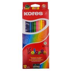 Kores Kolores Buntstifte, Farbstift mit weicher und leicht vermalbarer Mine, 1 Packung = 12 Stück + Anspitzer, fabig sortiert