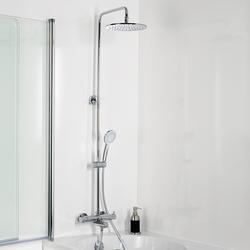 HSK Shower-Set RS 200 Thermostat für Badewanne mit Sicherheits-Badewannen-Thermostatarmatur, Kopf- und Handbrause