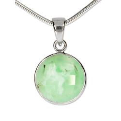 Adelia´s Kettenanhänger Chrysopras Anhänger 925 Silber grün, Chrysopras grün grün