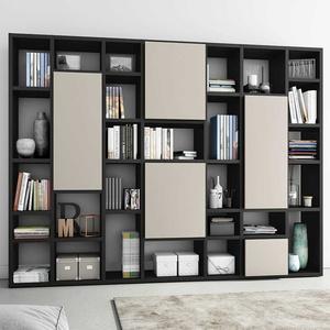 Design Bücherwand mit Türen Eiche Schwarz Braun und Beige