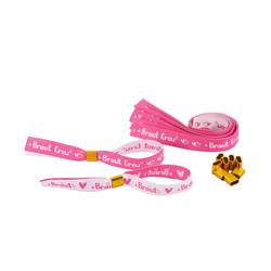 JGA Armbänder Set 1x Braut - 9x Braut Crew Junggesellinnenabschied weiß pink