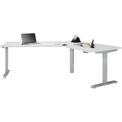 Maja Möbel Schreibtisch eDJUST Schreibtisch 5510, 120° Winkelkombination, elektrisch höhenverstellbar, 2-Motoren-Gestell, Memoryfunktion weiß 248 cm x 72 cm - 120 cm x 157,8 cm