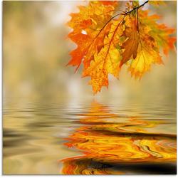 Artland Glasbild Herbstblätter, Blätter (1 Stück) 50 cm x 50 cm