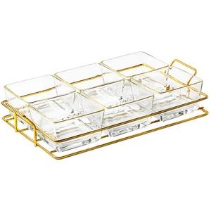 YIFEI2013-SHOP Saucenschälchen Haushalts-Snack-Platten-Glas-Dip-Bowls-Gewürz-Server-Gerichte mit Metallfach - gut für Snack-Ketchup-Soja-Sauce-Frucht (6-Pack-Glasschalen) Dipschalen (Color : A)