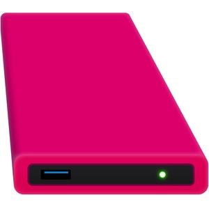 HipDisk RP 250GB SSD Externe Festplatte (6,4 cm (2,5 Zoll), USB 3.0) tragbare portable mit austauschbarer Silikon-Schutzhülle stoßfest wasserabweisend rosa-pink