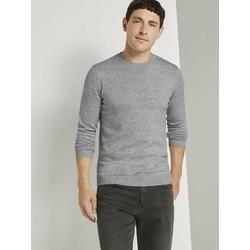 TOM TAILOR Stillpullover Basic Pullover in Mélange-Optik grau XXXL
