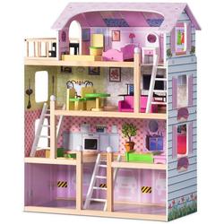 COSTWAY Puppenhaus Holzpuppenhaus mit Möbel