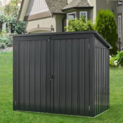 Juskys Mülltonnenbox Genk 1,6m² grau aus Metall mit 2 abschließbaren Türen