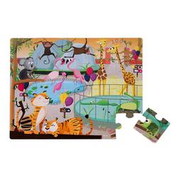 Janod Puzzle Haptik-Puzzle im Zoo 20 Teile, 20 Puzzleteile bunt