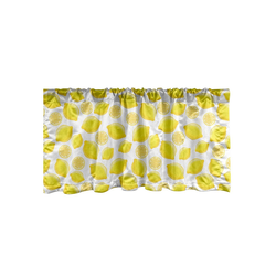 Scheibengardine Vorhang Volant für Küche Schlafzimmer Dekor mit Stangentasche, Abakuhaus, Zitronen Köstliche Zitrusfrüchte Kunst 137 cm x 30 cm