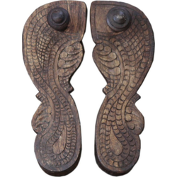 Guru-Shop Dekoobjekt Indische Paduka Sandalen, antike Holzsandalen,.. 25 cm x 8 cm x 9 cm