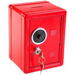 Idena Spardose Metalltresor mit Codeschloss, Spartresor, ca. 12 x 10,5 x 16 cm, mit Behälter für Kleinigkeiten, inklusive 2 Schlüssel rot