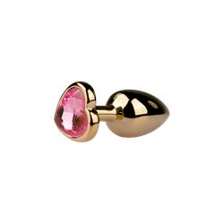 Goldener Analplug mit Herzkristall - SML