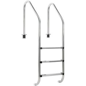 Zelsius Edelstahl Poolleiter mit 3 Stufen  50 x 62 x 157 cm
