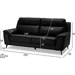 Haya Kunstleder Sofa 3 Personen schwarz Wohnlandschaft Couch Sofa Garnitur