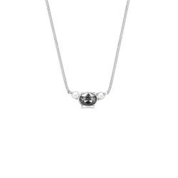 Elli Collierkettchen Panzerkette Perle Kristalle 925 Silber