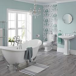 Nostalgie Bad Set - Toilette, Waschbecken, Badewanne und Armaturen - Greiffüße Chrom
