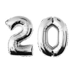 MyBeautyworld24 Folienballon Folienballon Zahlenballon in der Farbe silber Heliumballon Riesenzahl Geburtstag Deko Höhe 100 cm 20
