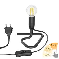 Tischlampe TRIN schwarz mit Stecker und Schalter inkl. E14 LED Lampe, 3-Stufen-dimmbar über Lichtschalter, warmweiß, 2700K, 4.5W =36W, 400lm
