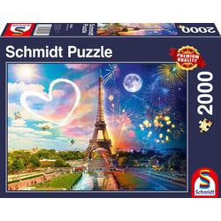 Schmidt Spiele Puzzle Paris, Tag und Nacht, 2000 Puzzleteile