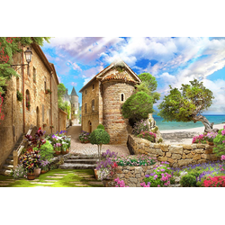 DesFoli Poster Mediterranes Dorf Strand P2598 150 cm x 100 cm