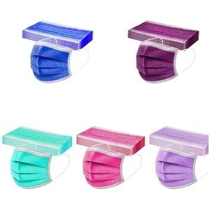 Lemooner 50 Stück Einmal-Mundschutz Erwachsene Einfarbig Farbe Drucken Verstellbarer Staubschutz, Einweg Atmungsaktive Face Halstuch 3 lagig Staubs-chutz