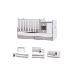 Lorelli Komplettbett Baby- und Kinderbett Mini Max, 3 in 1, umbaubar, für 2 Kinder gleichzeitig beige
