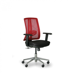 Bürostuhl human, schwarz/rot, stahlkreuz