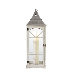 Dehner Laterne Laterne Abby, Holz/Glas/Metall, weiß/grau 85 cm