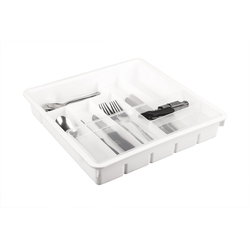 BigDean Besteckkasten 31x31 cm mit 9 Fächern − Inkl. flexibler Zusatzeinlage − Für Küchen−Schubladen − Robuster Kunststoff − Besteckfach, Geschirrkasten, Besteckbox, Schubladeneinsatz