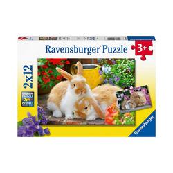 Ravensburger Puzzle Puzzle Kleine Kuschelzeit, 2 x 12 Teile, Puzzleteile