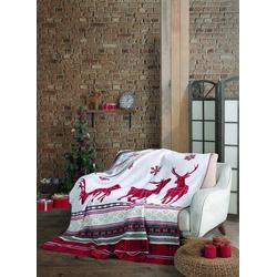 Wohndecke Weihnachten Rentier red, SEI Design, Plaid Kuscheldecke