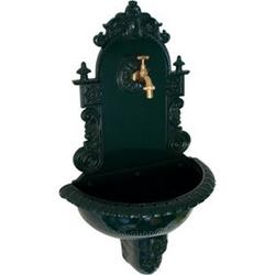 DEGAMO Wandbrunnen TIROL aus Aluguss mit Wasserhahn, dunkelgrün