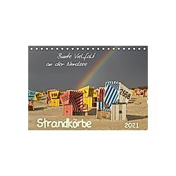 Strandkörbe - bunte Vielfalt an der Nordsee (Tischkalender 2021 DIN A5 quer)