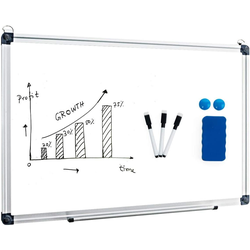 COSTWAY Magnettafel Whiteboard, Magnettafel Schreibttafel Pinnwand Wandtafel Board Memoboard mit Alurahmen 50 cm x 70 cm