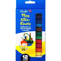 Plastilin-Knete VE=12 Farben a 14g mit Modelliermesser