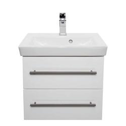 Badezimmerkommode in Weiß Hochglanz Keramik Waschbecken