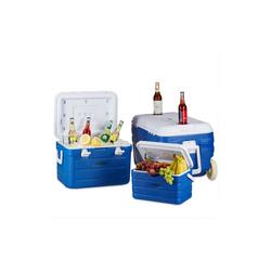 relaxdays Aufbewahrungsbox Kühlbox ohne Strom 3er Set mit Trolley, PE
