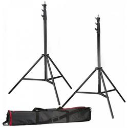 BRESSER Lampenstativ 2x BR-TP280 PRO-1 Stativ (280 cm) + Tasche
