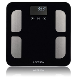 SEBSON Körper-Analyse-Waage Körperfettwaage digital, Körperfettanalyse – Gewicht, Körperfett, Wasser, Muskelanteil, BMI, usw - Personenwaage bis 180kg