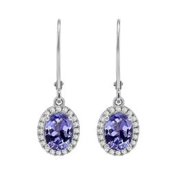 Ohrringe aus Weißgold mit blauen Tansaniten und Diamanten Caty
