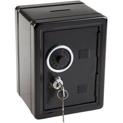 Idena Spardose Metalltresor mit Codeschloss, Spartresor, ca. 12 x 10,5 x 16 cm, mit Behälter für Kleinigkeiten, inklusive 2 Schlüssel schwarz