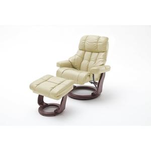 Robas Lund Sessel Leder Relaxsessel TV Sessel mit Hocker bis 180 Kg, Fernsehsessel Echtleder creme, Calgary XXL
