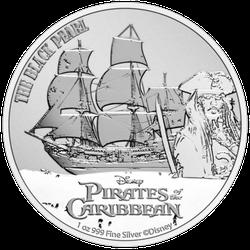 1 Unze Silber Disney Fluch der Karibik Black Pearl 2021