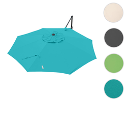 Bezug für Ampelschirm HWC-A39, Sonnenschirmbezug Ersatzbezug, Ø 3,5m Polyester 250g/m² ~ türkis