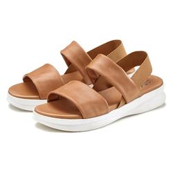 LASCANA Sandale aus Leder mit modischer Sohle braun 39